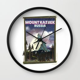 Mount Kazbek Russia. Wall Clock