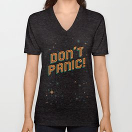 Don't Panic! Pixel Art Unisex V-Neck