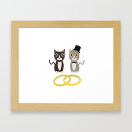 Wedding Cats with Rings Framed Art Print