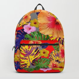 TROPICAL FLOWERS & LEAVES RED ART Backpack