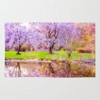 arnold Area & Throw Rugs featuring Spring at Arnold Arboretum by LudaNayvelt