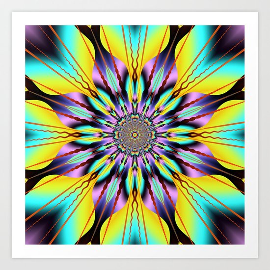 Fantasy sunflower with wavy rays and patterns Art Print