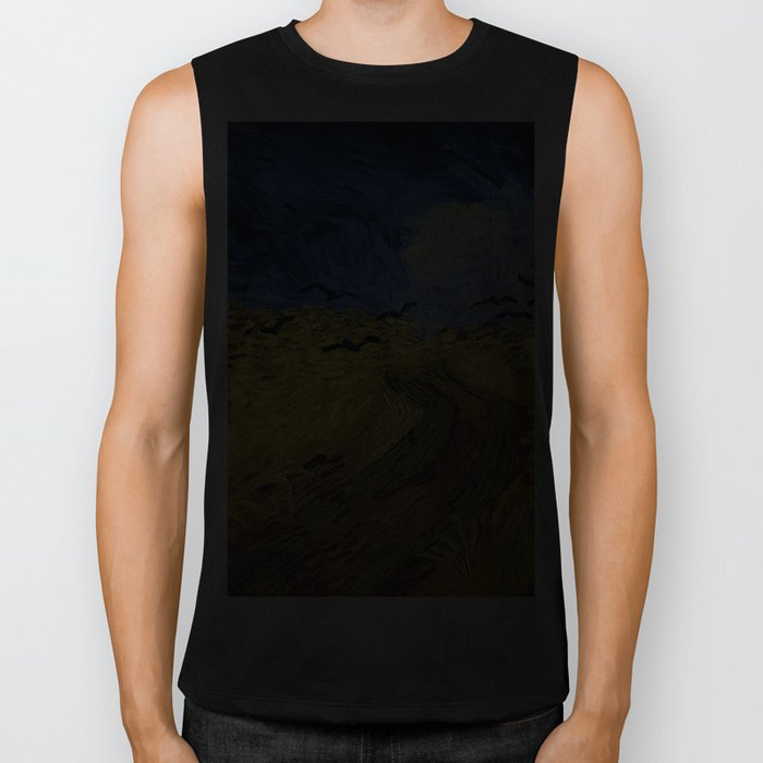 Wheatfield with Crows by Vincent van Gogh Biker Tank