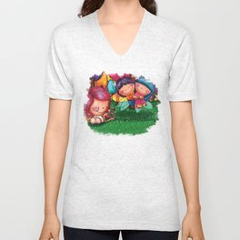 Love Angel - Fun, sweet, unique, creative and very colorful, original, acrylic children illustration Unisex V-Neck