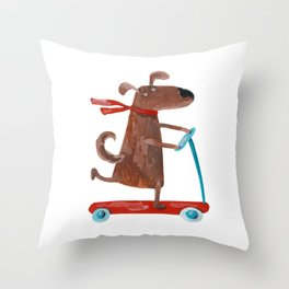 Dog ride the scooter, watercolor acrylic hand painted illustration Throw Pillow