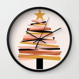 Ribbon Christmas Tree - neutrals Wall Clock