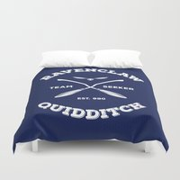ravenclaw Duvet Covers featuring Ravenclaw Quidditch Team Seeker: Blue by Sharayah Mitchell