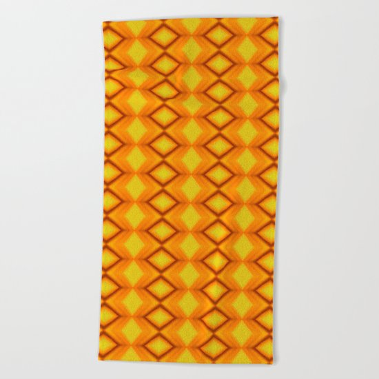 Diamonds II - orange/yellow Beach Towel