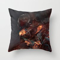 atheist Throw Pillows featuring Thoughts of A Dying Atheist by Matteus Faria