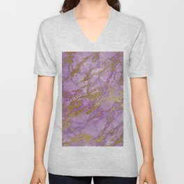Gold Glitter and Ultra Violet Marble Agate Unisex V-Neck