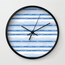 Watercolor Silent Sea Blue Stripes Wall Clock