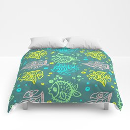 Fishes Batik Style Seamless Pattern Comforters