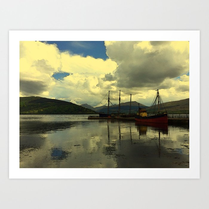 Boat on a Scottish Loch Art Print