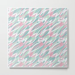 Abstract pink turquoise waves . Metal Print