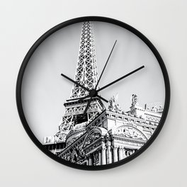 Eiffel tower at Las Vegas, USA in black and white Wall Clock