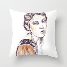 Fashion illustration with golden watercolors Throw Pillow