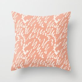 Terracotta scribble pattern abstract Throw Pillow