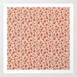 Poppies Hand-Painted Watercolors in Rose Pink on Pale Pink Art Print