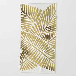 Tropical Banana Leaves – Gold Palette Beach Towel