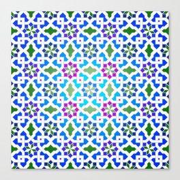 Beautiful oriental flower pattern 7 blue, green Canvas Print