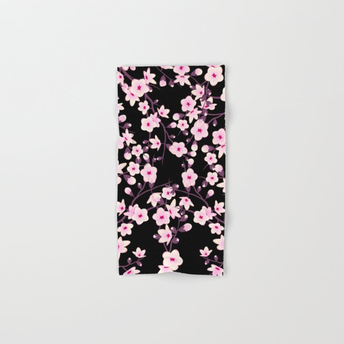 Cherry Blossoms Pink Black Hand & Bath Towel