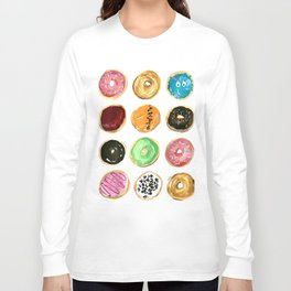 Dozen of colorful donuts Long Sleeve T-shirt