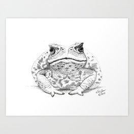 Cane Toad, Pointillism  Art Print