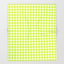 Small Diamonds - White and Fluorescent Yellow Throw Blanket