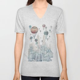 Voyages Over New York ~Refresh Unisex V-Neck