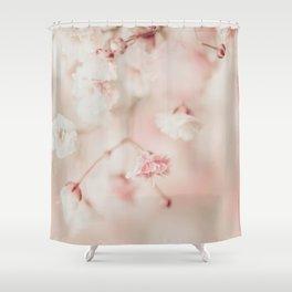Pink Linen Gypsophila Shower Curtain