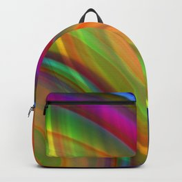 Interweaving curved semicircles with a crisp solar accent and all the colors of the rainbow. Backpack