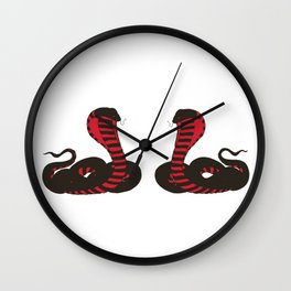 Twin Black and Red Striking Cobra Wall Clock
