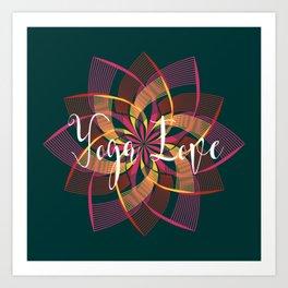Bohemian Style Moody Colors, Yoga Love Mandala Art Print