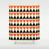 hearts Shower Curtains featuring HEARTS by d.ts
