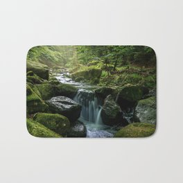 Flowing Creek, Green Mossy Rocks, Forest Nature Photography Bath Mat