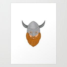 Viking Warrior Head Drawing Art Print