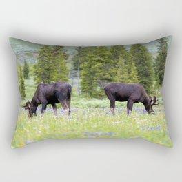 Two Moose Grazing Rectangular Pillow