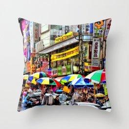 Korean Rain (Painted Version) Throw Pillow