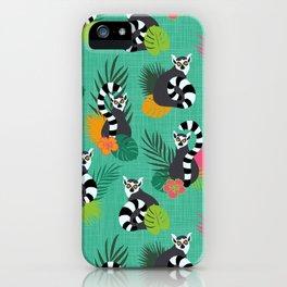 Tropical Lemurs Aquamarine iPhone Case
