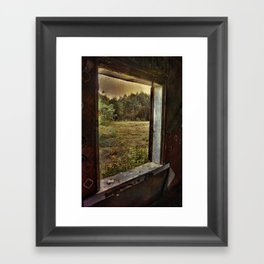 Window in an old abounded farm house Framed Art Print