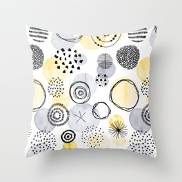Watercolour Circles | Grey and Yellow Palette Throw Pillow