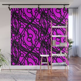 Black molecular helix with circles on a purple background. Wall Mural