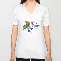 captain hook V-neck T-shirts featuring Peter Pan and Captain Hook in watercolor by Paulrommer