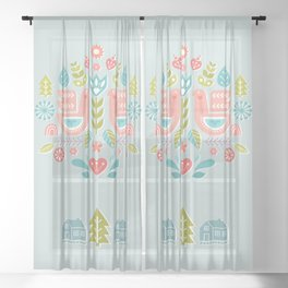 Simple And Sweet Songs Scandinavian Folk Art Design Sheer Curtain