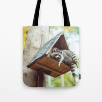 racoon Tote Bags featuring racoon by Kalbsroulade