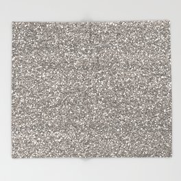 Silver Glitter I Throw Blanket