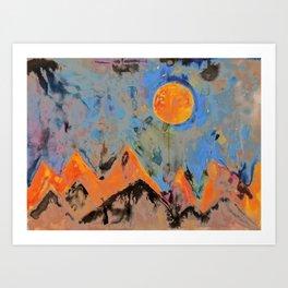orange mountains Art Print