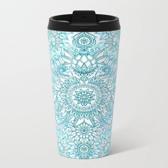 Turquoise Blue, Teal & White Protea Doodle Pattern Metal Travel Mug