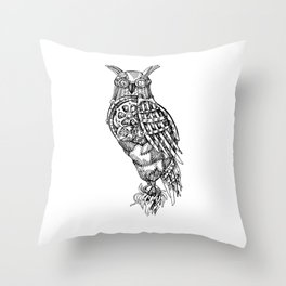 Hand Drawn Steampunk Owl Standing on Branch Throw Pillow
