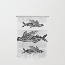 Flying Fish   Black and White Wall Hanging